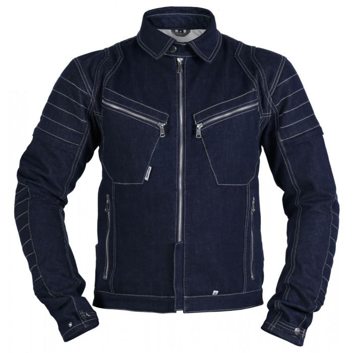 Мотокуртка INFLAME GRUNGE джинсовая хлопок + арамид, темно-синяя