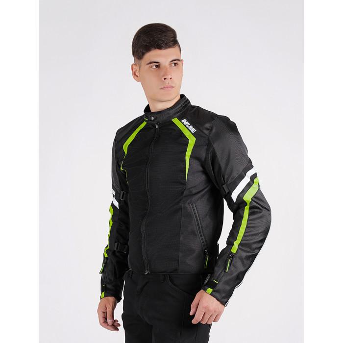 Мотокуртка INFLAME INFERNO II текстиль + сетка, черный/зеленый неон