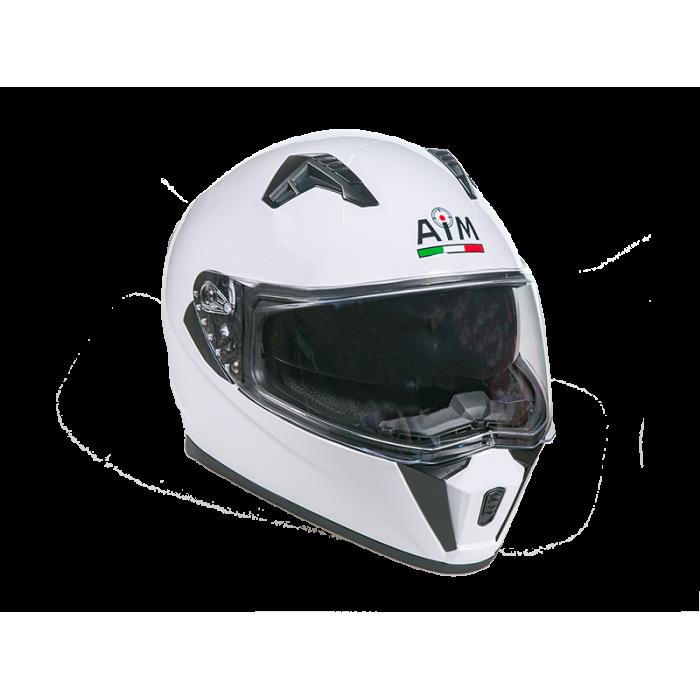 Мотошлем с очками AiM JK-320 интеграл белый