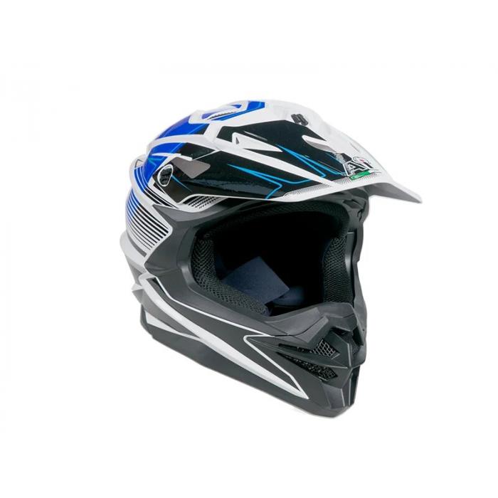 Шлем кроссовый AiM JK-803 бело-синий