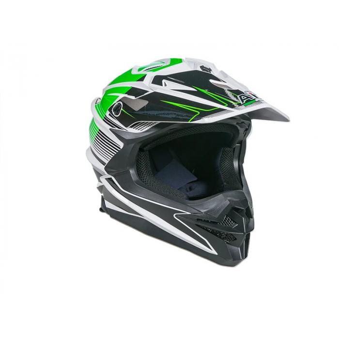 Шлем кроссовый AiM JK-803 бело-зеленый