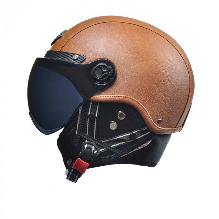 Мото шлем MOTOR AD CLASSIC 3/4 коричневый